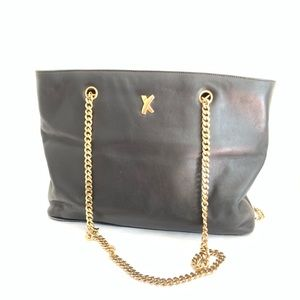 Paloma Picasso Black Leather Zip Tote Gold Chain